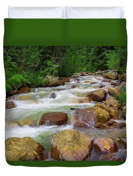 Duvet Cover featuring the photograph Velvet Green Forest by Tim Reaves