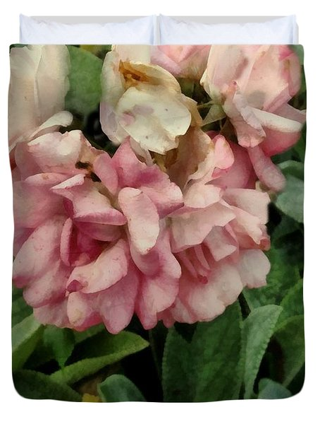 Velvet In Pink And Green Duvet Cover by RC deWinter