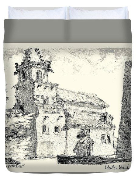 Duvet Cover featuring the painting Venasque Provence by Martin Stankewitz
