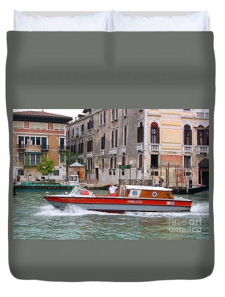 Venetian Ambulance Duvet Cover by Mariarosa Rockefeller