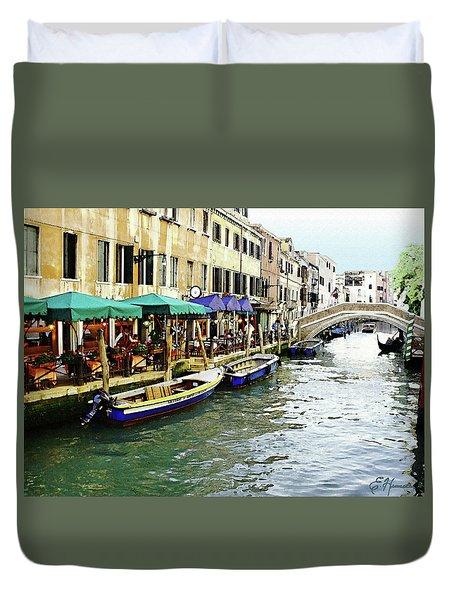 Venetian Cafes Duvet Cover by Ellen Henneke