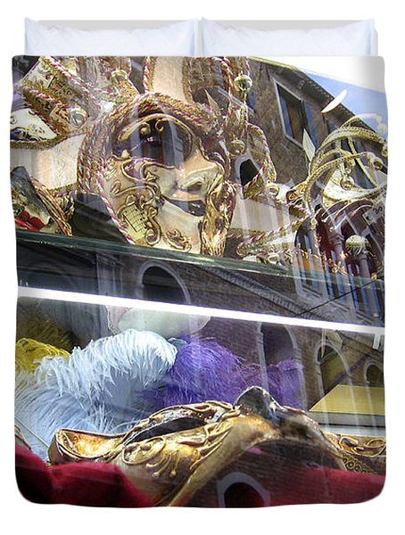 Venetian Carnival Reflections Duvet Cover