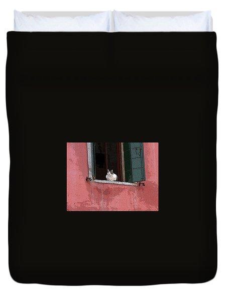 Venetian Cat In Window Duvet Cover