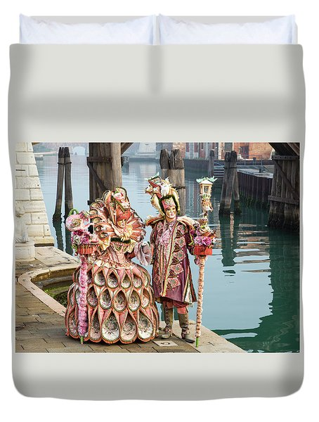 Venetian Couple Along The Canal Duvet Cover