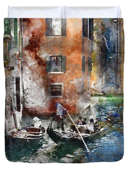 Venetian Gondolier In Venice Italy Duvet Cover