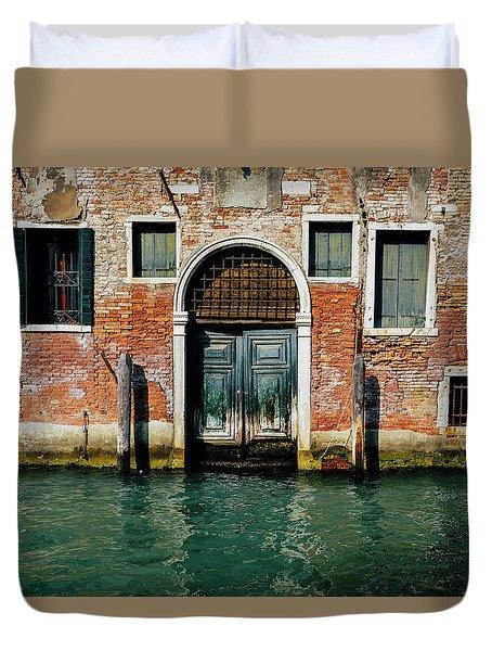 Venetian House On Canal Duvet Cover