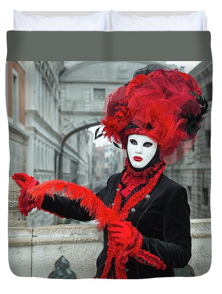 Venetian Lady At The Bridge Of Sighs Duvet Cover