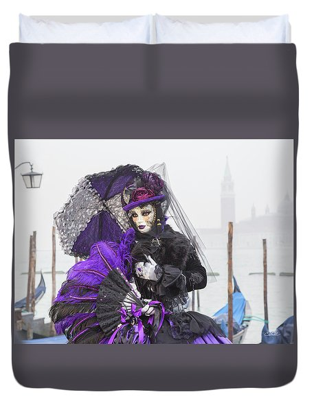 Venetian Lady In Purple Duvet Cover