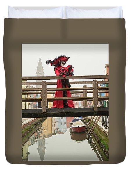 Venetian Lady On Bridge In Burano Duvet Cover