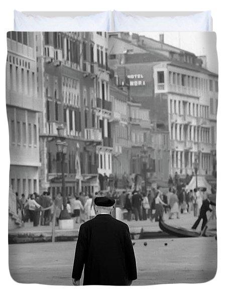 Venetian Priest And Gondola Duvet Cover by KG Thienemann