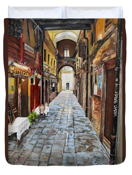 Duvet Cover featuring the painting Venezia - Alley On Parangon In Venice by Jan Dappen
