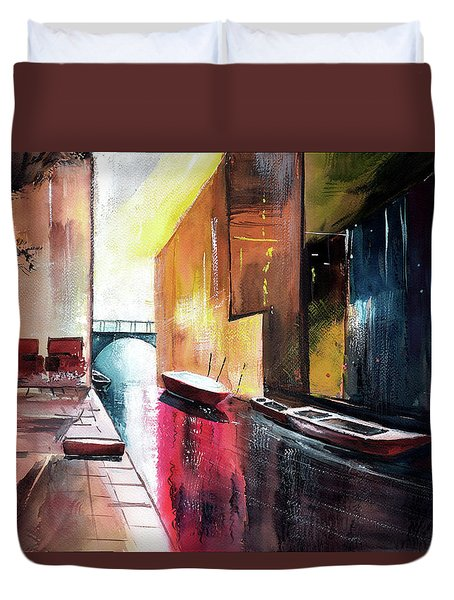 Duvet Cover featuring the painting Venice 1 by Anil Nene