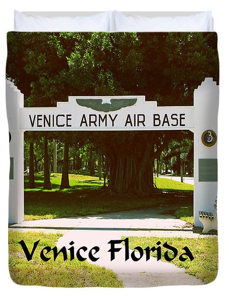 Duvet Cover featuring the photograph Venice Army Air Force by Gary Wonning