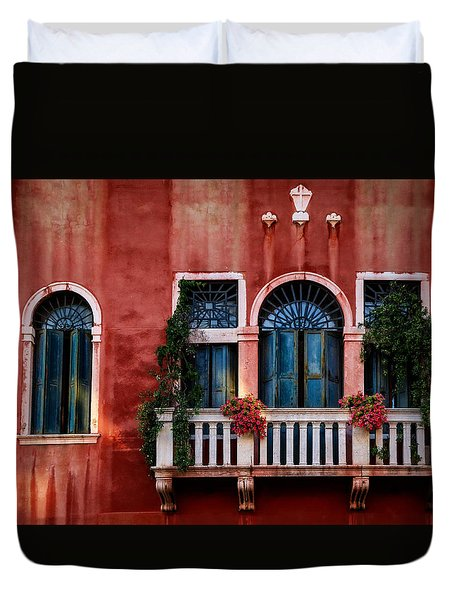 Venice Balcony Duvet Cover by Kathleen Scanlan