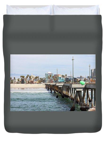 Venice Beach From The Pier Duvet Cover by Ana V Ramirez