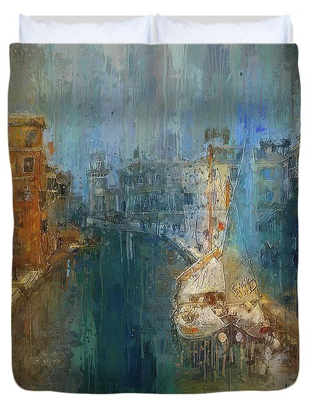 Venice Blue And Yellow Duvet Cover