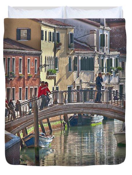 Venice Bridge Crossing 6 Duvet Cover by Heiko Koehrer-Wagner