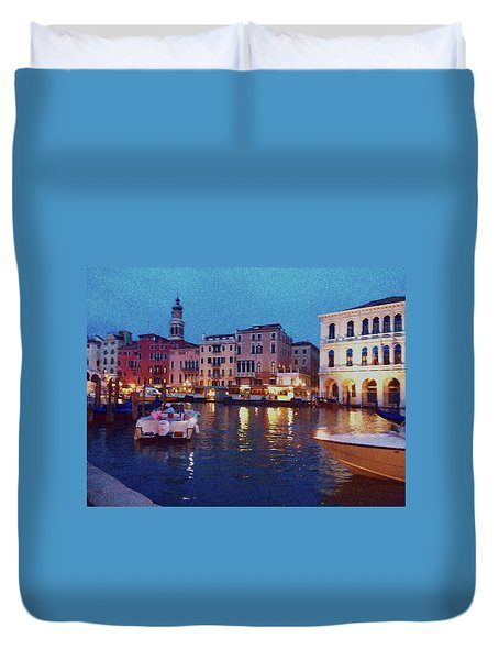 Duvet Cover featuring the photograph Venice By Night by Anne Kotan