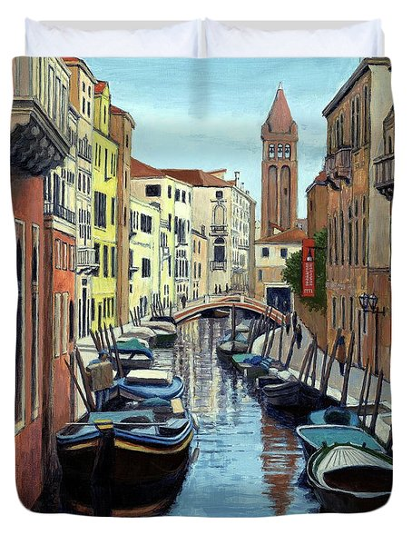 Duvet Cover featuring the painting Venice Canal Reflections by Janet King