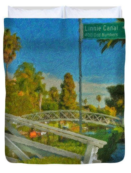Duvet Cover featuring the photograph Venice Canal Bridge Signs by David Zanzinger