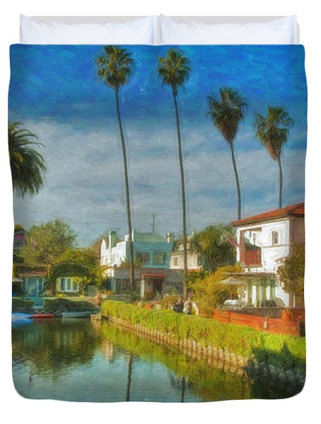 Venice Canal Houses Watercolor  Duvet Cover by David Zanzinger
