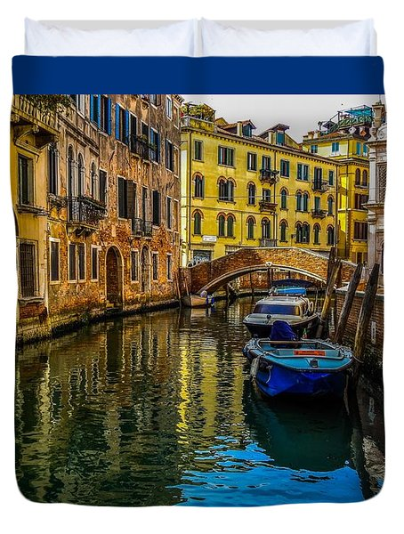 Venice Canal In Italy Duvet Cover