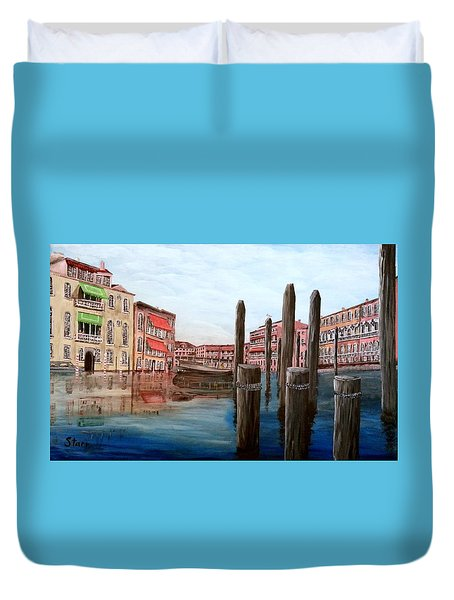 Venice Canal Duvet Cover by Irving Starr