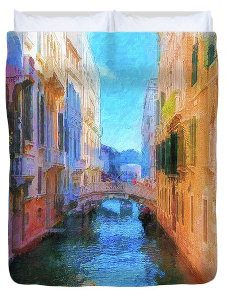 Venice Canal Painting Duvet Cover