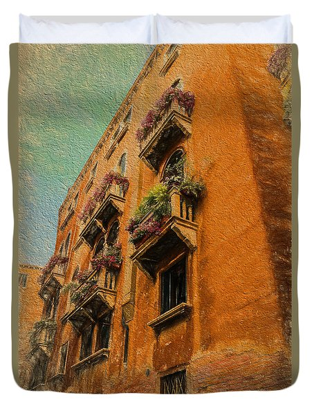 Duvet Cover featuring the photograph Venice Canal Windows Textured by Kathleen Scanlan