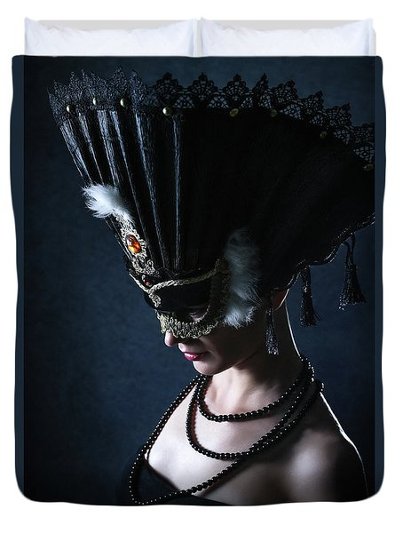 Duvet Cover featuring the photograph Venice Carnival Mask by Dimitar Hristov