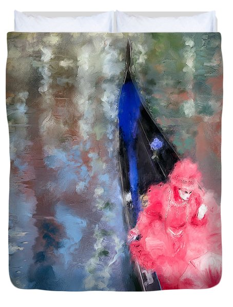 Venice Carnival. Masked Woman In A Gondola Duvet Cover