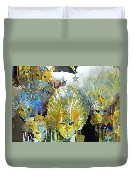 Venice Carnival Masks Duvet Cover