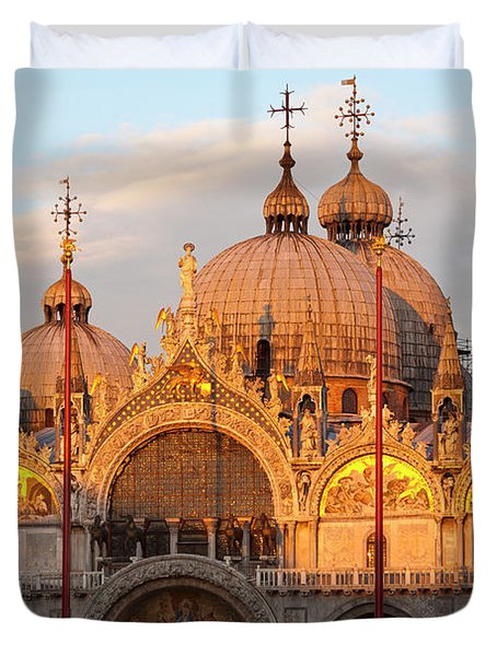 Venice Church Of St. Marks At Sunset Duvet Cover by Heiko Koehrer-Wagner