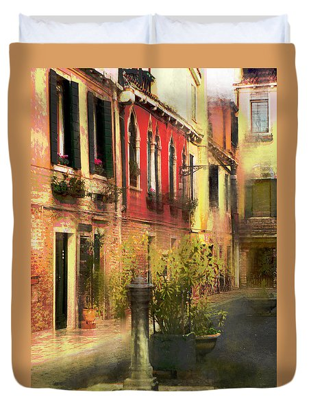 Venice Courtyard Duvet Cover by Suzanne Powers
