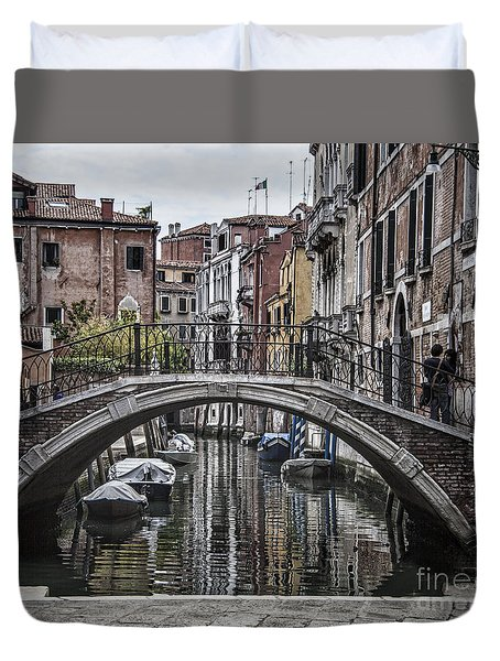 Duvet Cover featuring the photograph Venice Crossing by Shirley Mangini