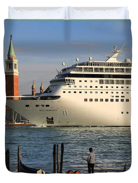Venice Cruise Ship 2 Duvet Cover by Andrew Fare