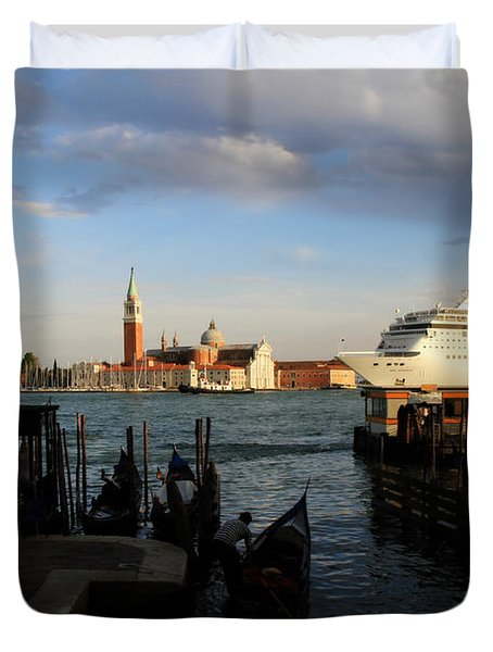 Venice Cruise Ship Duvet Cover by Andrew Fare