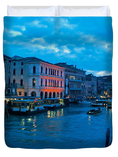Duvet Cover featuring the photograph Venice Evening by Eric Tressler