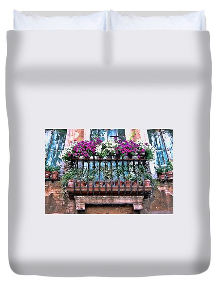 Duvet Cover featuring the photograph Venice Flower Balcony by Allen Beatty