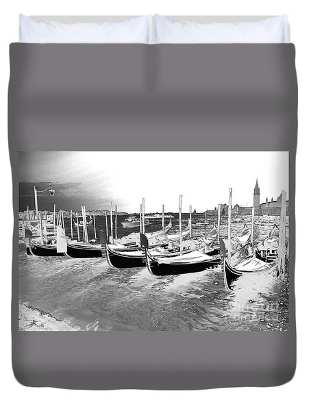 Duvet Cover featuring the photograph Venice Gondolas Silver by Rebecca Margraf