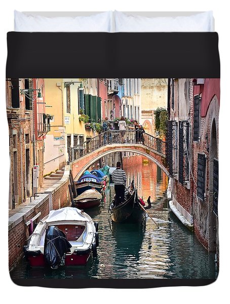 Venice Gondolier Duvet Cover by Frozen in Time Fine Art Photography