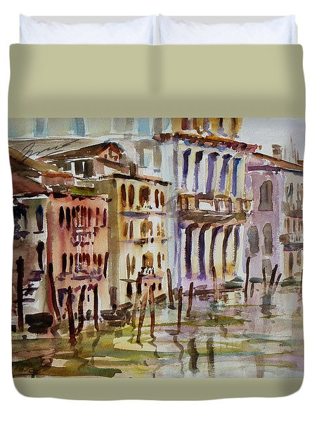 Duvet Cover featuring the painting Venice Impression II by Xueling Zou