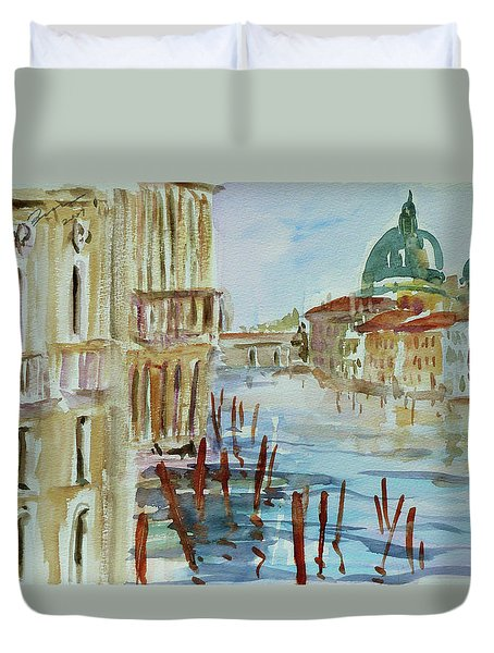 Duvet Cover featuring the painting Venice Impression IIi by Xueling Zou