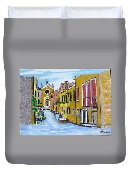 Duvet Cover featuring the painting Venice In September by Rod Jellison