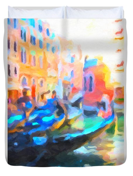 Duvet Cover featuring the painting Venice, Italy by Chris Armytage