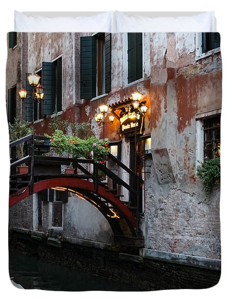 Venice Italy - The Cheerful Christmassy Restaurant Entrance Bridge Duvet Cover