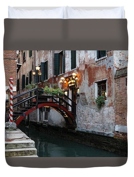 Venice Italy - The Cheerful Christmassy Restaurant Entrance Bridge Duvet Cover