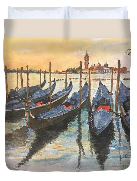 Duvet Cover featuring the painting Venice by Lucia Grilletto