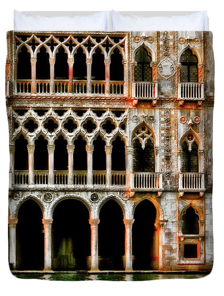 Duvet Cover featuring the photograph Venice Palace  by Harry Spitz
