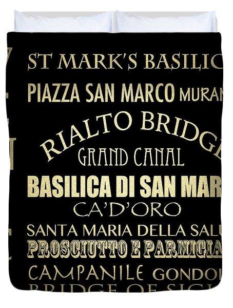Venice Famous Landmarks Duvet Cover